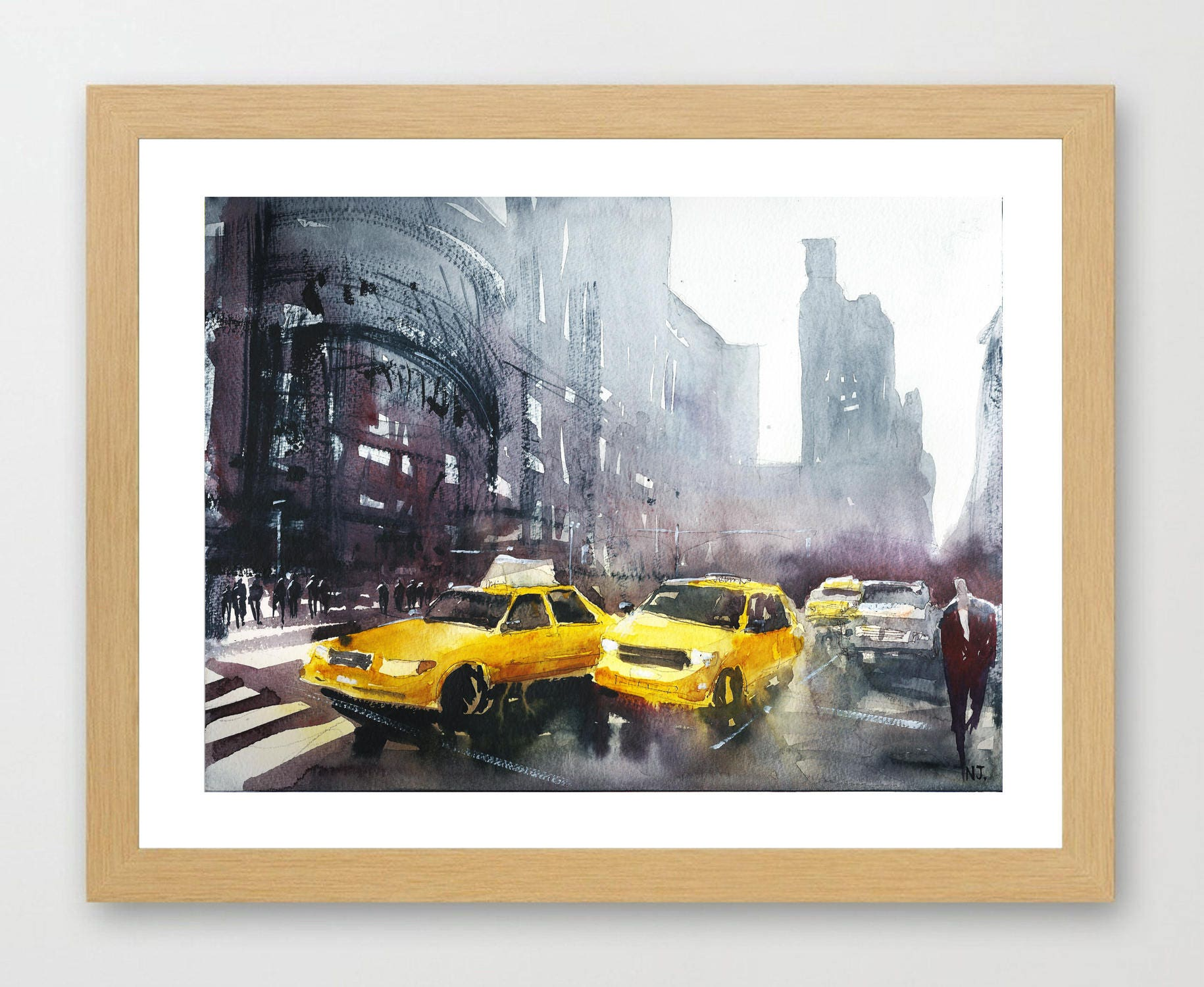 peinture de rue de new york jaune taxis aquarelle avec les etsy. Black Bedroom Furniture Sets. Home Design Ideas