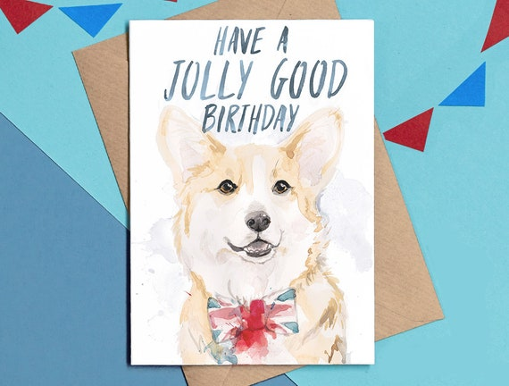 Corgi Birthday Card Bday Dog Painting