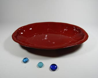Red serving dish from the oven