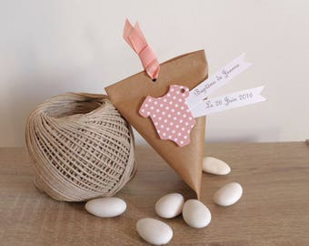 10 box dragees berlingot kraft + body peach polka dot - containing sweets - thank you gift birthday, christening guests