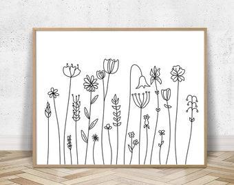 Wildflower Drawing Etsy
