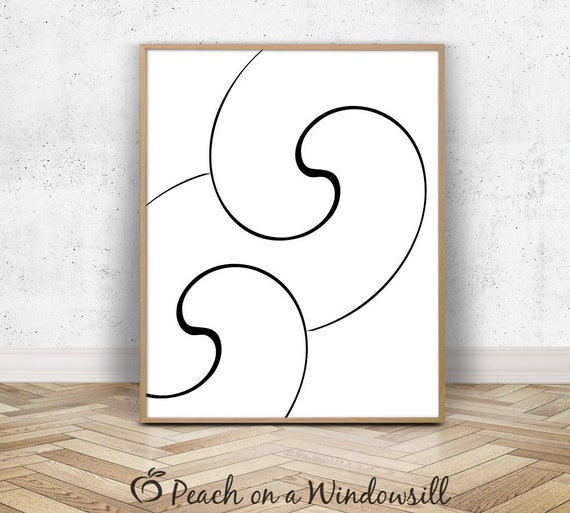 Swirl Art Print Black White Simple Abstract Office Art Etsy