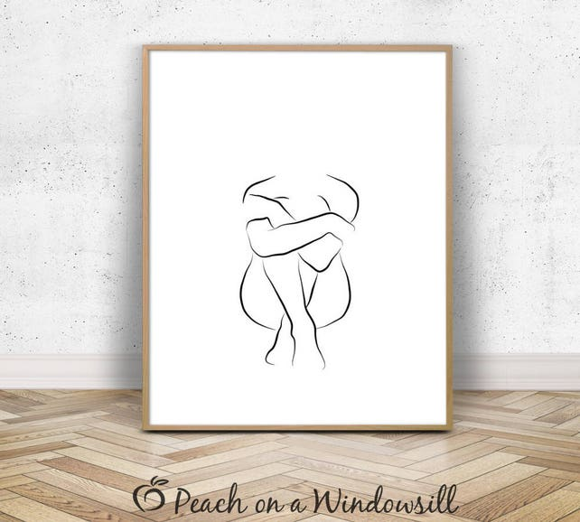 Female Figure Drawing Woman Body Outline Naked Girl Wall | Etsy