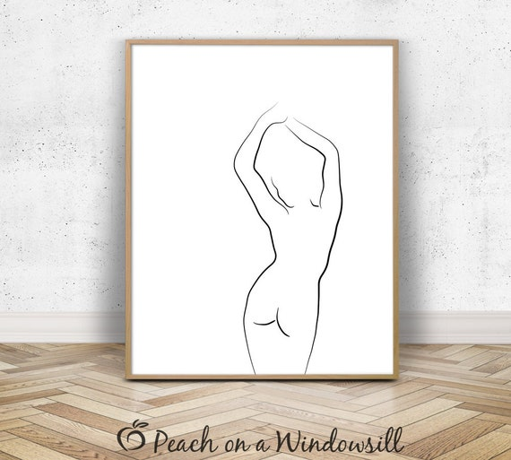 Female Silhouette Naked Woman Art Minimal Body Outline