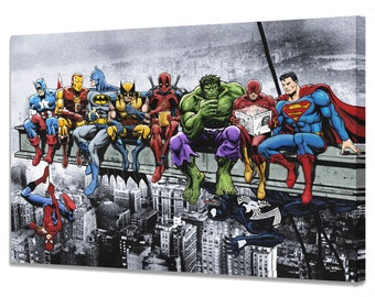 Superman Marvel Avengers DC Suphero 5 Piece Multi Panel Canvas Wall Art Print