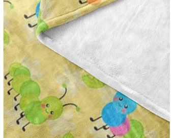 Garden Bugs Fleece Blanket - Style  9 - Cute Caterpillars - Great gift idea bundle with matching products Think Spring