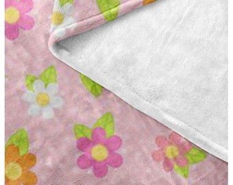 Garden Bugs Fleece Blanket - Style 2 - Pink Flowers - Great gift idea - bundle with matching products - Think Spring