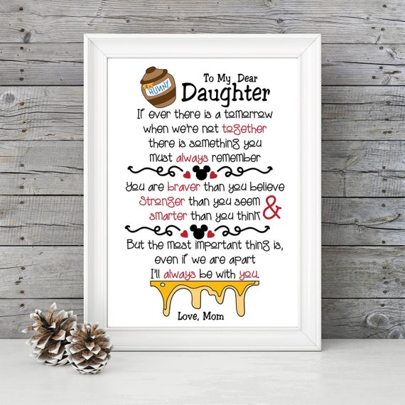 Winnie the Pooh quote Print - Inspirational quote, Daughter gift, mom gift,  Birthday, New Baby, Baby\'s Room, mother\'s day gift - personalize