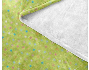 Garden Bugs Fleece Blanket - Style 12 - Green with Polka Dots - Great gift idea - bundle with matching products - Think Spring