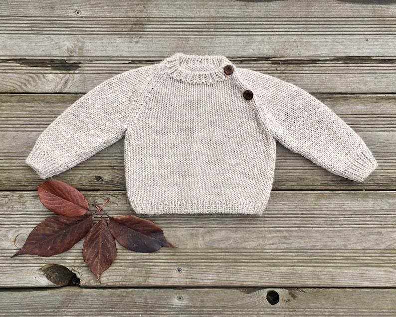 Baby alpaca Knit sweater Beige unisex Child jumper boy girl image 0