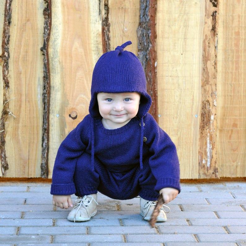 daebe950367 Knit merino hat ear flap hat wool knit navy blue unisex