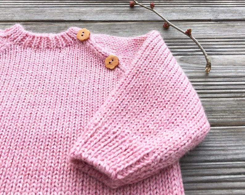 b341f827c556 Rose baby girl dress Knit wool kids tunic Long sweater Spring