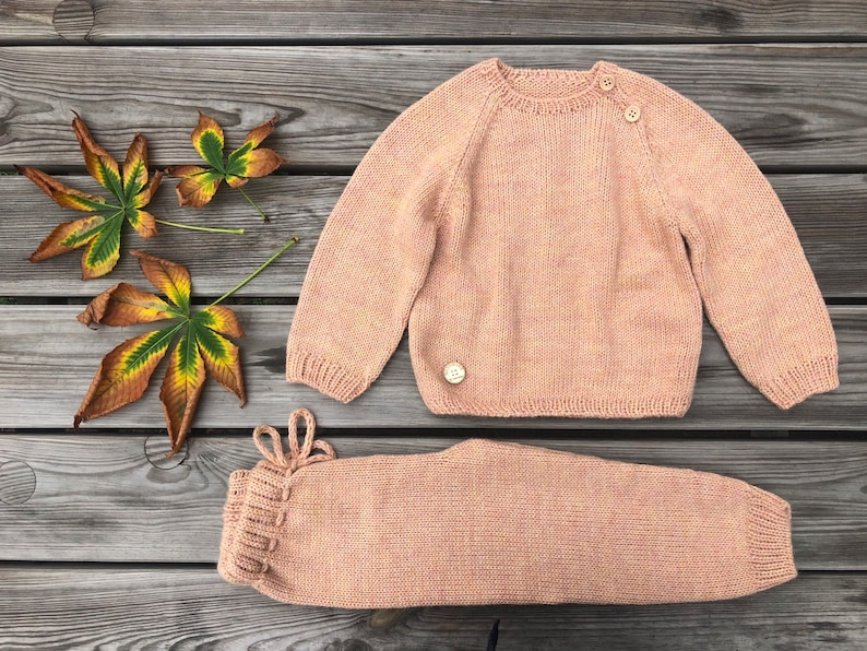 Baby outfit Alpaca Orange Boy Girl Wool sweater pants Unisex clothing set Newborn gift All in one Toddler pullover Knit kids jumper leggings