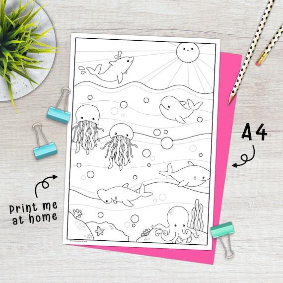 Printable Kawaii Sea Life Colouring Sheet  Digital Download