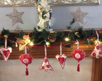 festive christmas garland fabric decoration 2 hearts 2 baubles and 2 trees - Nordic Christmas Tree Decorations