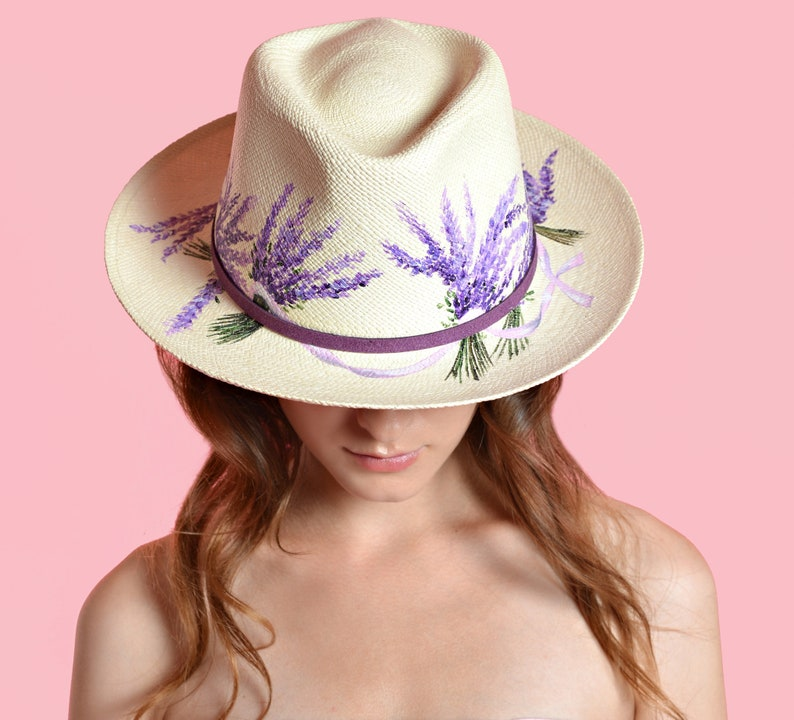 62da7f75b Hand-painted Natural Straw Hats, Genuine Fedora Havana Panama Hat Ecuador  Handmade, Bridal Hat For Beach Wedding, Boho Gypsy Lavender Hat