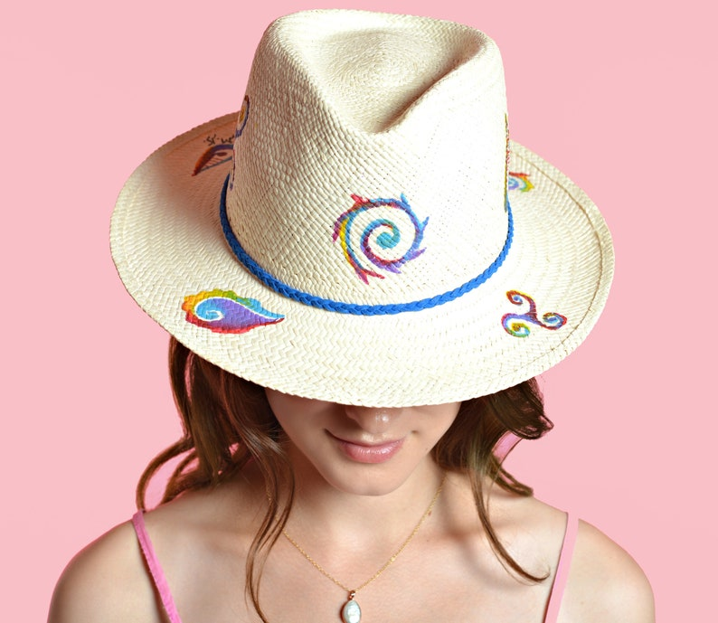 ac14b7bbe Hand-painted Natural Straw Hats, Genuine Fedora Havana Panama Hat Handmade  in Ecuador, Bridal Hat For Beach Wedding, Boho Gypsy Women's Hat