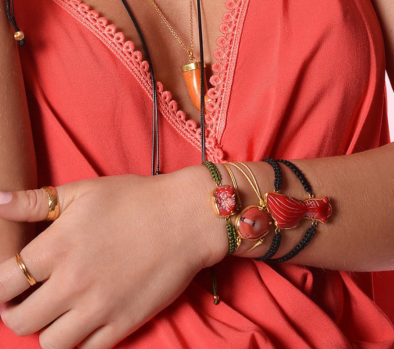 Coral Cord Bracelet Gold Mother/'s Day Gift for Mom Sister Aunt Natural Red Coral Bezel Silver Stacking Bracelet Boho Statement Jewelry