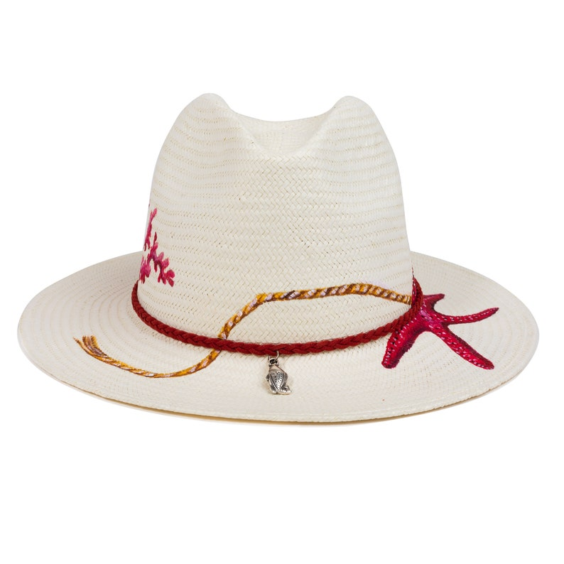 6a6f9ff2 Valentine Wedding Hand-painted Natural Straw Hats Genuine   Etsy