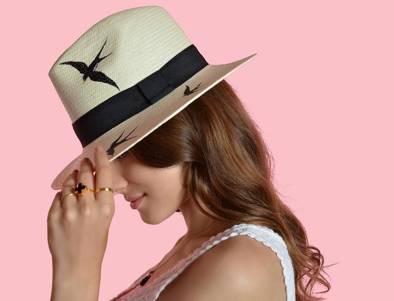 527454e7 Hand-painted Natural Straw Hat Genuine Fedora Havana Panama   Etsy