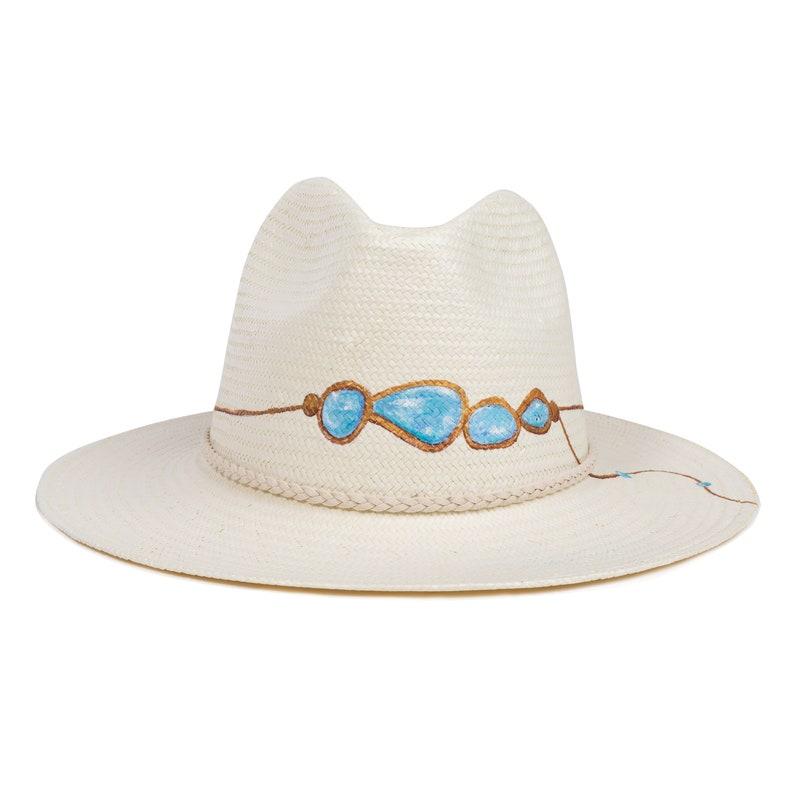 fb59ff6e3 Hand-painted Natural Straw Hats, Genuine Fedora Panama Hat Handmade in  Ecuador, Bridal Hat For Beach Wedding, Boho Chic Gypsy Women's Hat