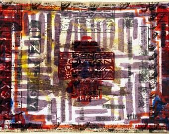lettre ' o ' impression / originale lithographiée rouge violet art / initiale en art mural / typographique art mural d'impression / vintage / initiale art abstrait