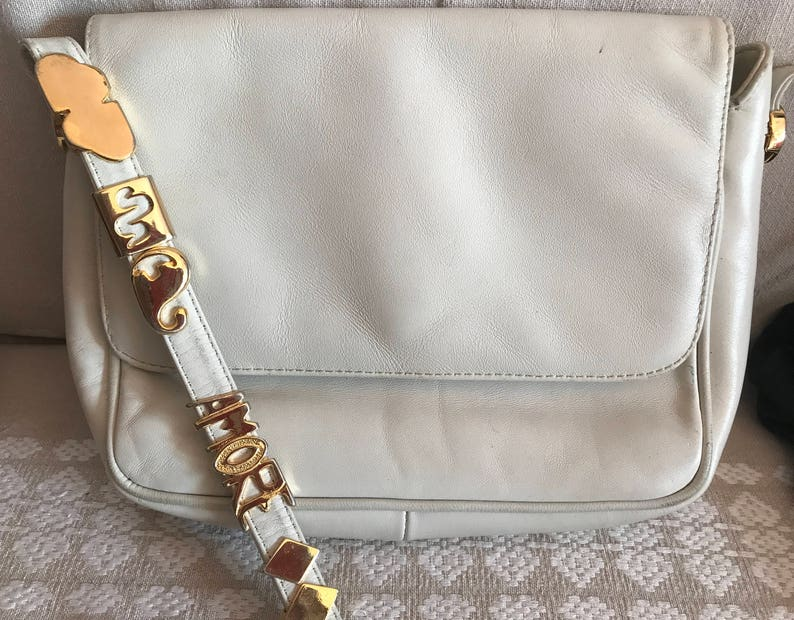 7ac659a8d04f71 Kenzo Blanco vintage bolsa de cuero hombro auténtico | Etsy