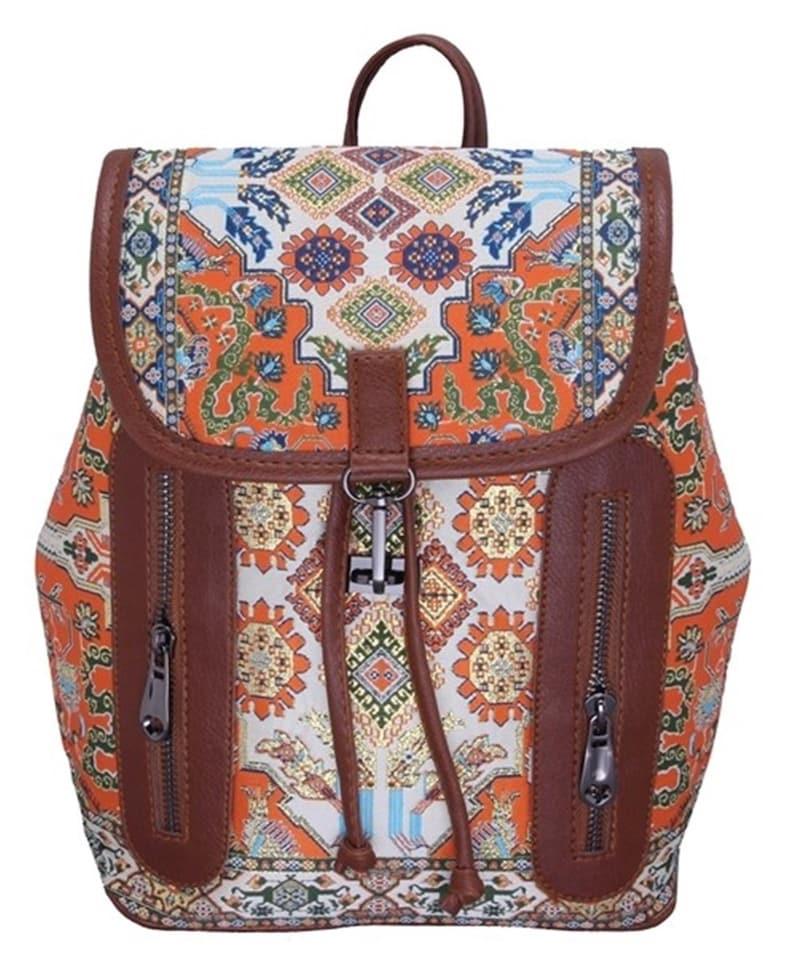 Rucksack Women Turkish Kilim Design Rucksack Backpack Floral Bag Small Backpack Women Leather School Bag Travel Bag Vintage Backpack