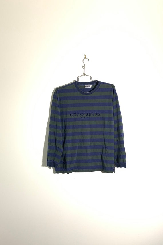 90s Guess Striped Long Sleeve Shirt - Large / Gues