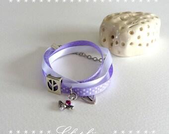 Bracelet in purple and white polka dot fabric