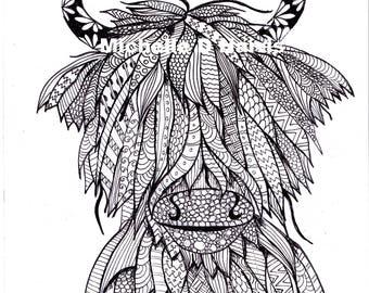 Original Art Zentangle Highland Cow Print Mandala