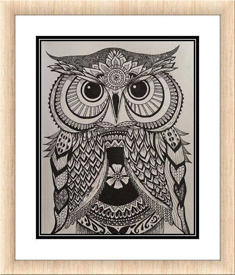 Zentangle Chouette Impression Mandala Hibou Imprimer Art Etsy