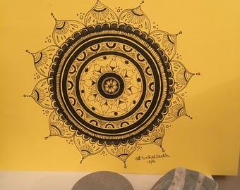Black and yellow original mandala on A4 Card - Wall Art,