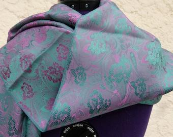 Pretty rolled hem flower pattern silk scarf