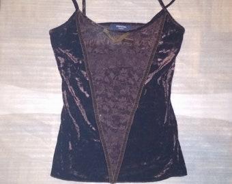 Top Brown velvet corset with lace, velvet corset, top boho, bohemian corset, hippie bodice