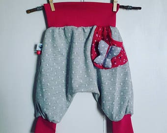 Pants original harem pants with small pocket floating Butterfly theme.