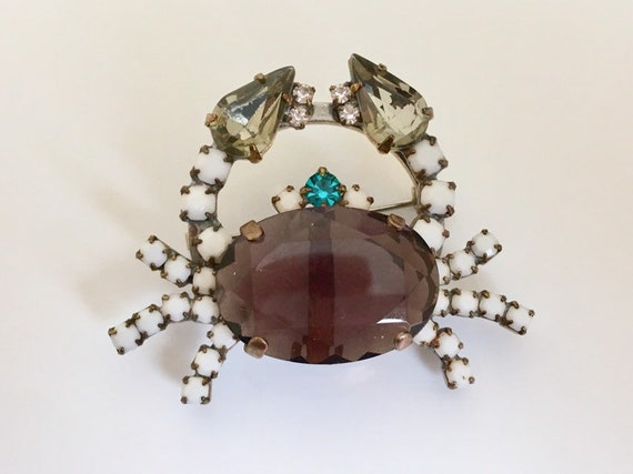 Vintage Crab Brooch Czech Crystal  Brooch Vintage Jewelry Holiday Jewelry Czech rhinestone Crab Brooch pin gift Figural Crab