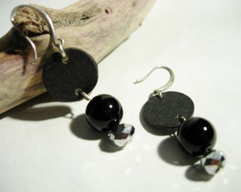 Natural slate black and Silver earrings