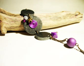Bracelet made of natural slate, black and Purple Star charm, purple beads
