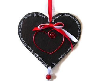 Heart wall deco slate black and Red