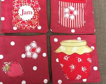 Set of 4 hand made fabric coasters