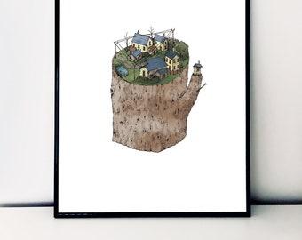 Treehouses / A3 Print