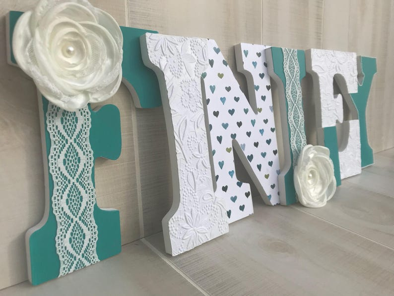 Turquoise Teal White Wooden Letters With Lace Pearl Flower And Embossed Accents