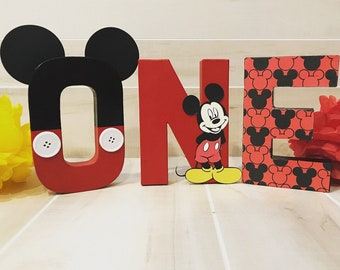 Mickey Mouse ONE birthday letters