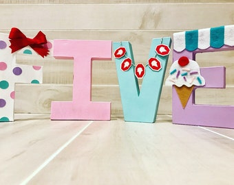 Birthday letters numbers ice cream theme ONE FIVE