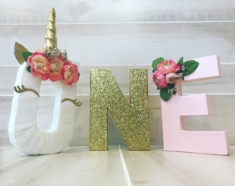 ONE unicorn birthday letters