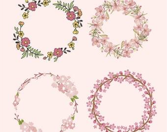Wedding Floral Wreath Cherry Blossom Flowers Watercolor - Ai/Pdf/Eps/Svg/Png/Dxf- Decorative/Printable/Cricut/Vinyl/Decal/300dpi/Vector/