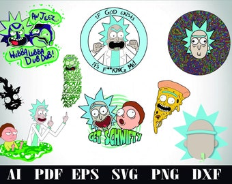 Rick And Morty/Pickle Rick-Ai/Pdf/Eps/Svg/Dxf/Png-Sticker/Print/Cricut/Cartoon/Clipart/300dpi/300ppi/Instant Download/Pickle Rick/Pizza Rick