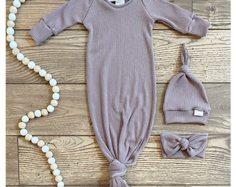 baby gift baby gown Pink stripe rib knit newborn gown newborn set knot gown baby shower gift knotted gown