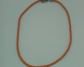 Orange braided cord with lobster clasp chain